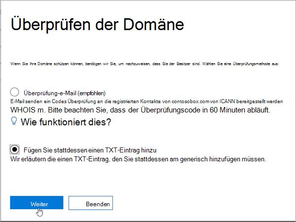 Wählen Sie Domainnameshop hinzufügen TXT stattdessen in Office-365_C3_2017627999