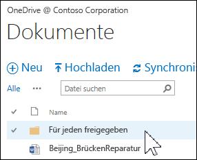 """Ordner """"Für jeden freigegeben"""" in OneDrive for Business"""