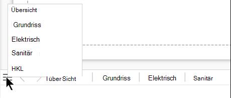 """Wählen Sie die Schaltfläche """"Seitenliste"""" aus, um eine vollständige Liste der Seiten in der aktuellen Zeichnungsdatei anzuzeigen und auszuwählen."""