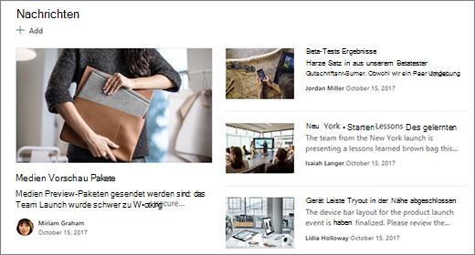 """Neuer Abschnitt """"Team Website"""" auf der Startseite"""