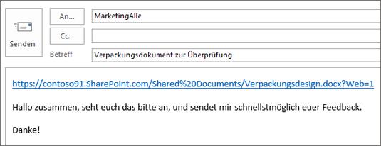 Schreiben einer E-Mail-Nachricht mit einem Link