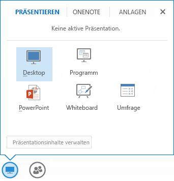 Screenshot des Freigabemenüs mit ausgewählter Registerkarte 'Präsentieren', auf der die PowerPoint- und andere Freigabeoptionen angezeigt werden