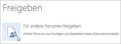 """Schaltfläche """"Für Personen freigeben"""" in Word Online"""