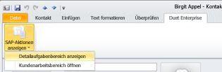 SAP-Aktionen anzeigen