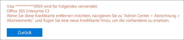 """Screenshot der Fehlermeldung, die angezeigt wird, wenn Sie die Karte für die Zahlung eines aktiven Abonnements verwenden: """"[Kartennummer] wird für Folgendes verwendet: [Abonnementname]"""""""