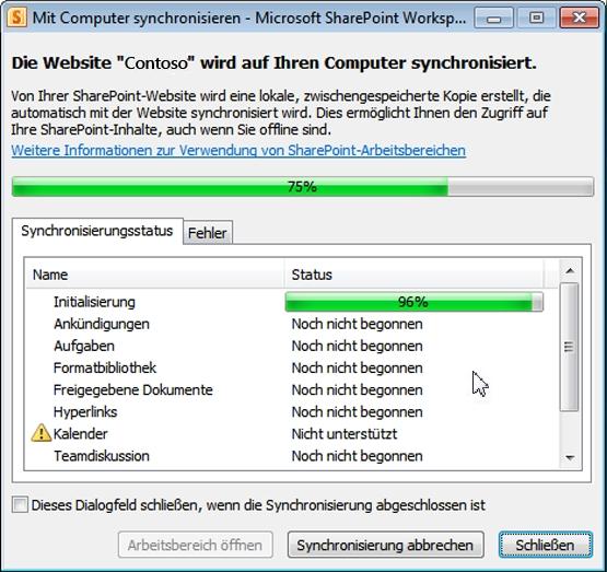 """Statusfenster """"Mit Computer synchronisieren"""""""