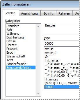 Custom category in Format Cells dialog box