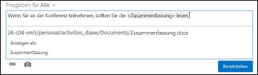 Eine Dokument-URL in einem Newsfeedbeitrag, die mit Anzeigetext formatiert ist