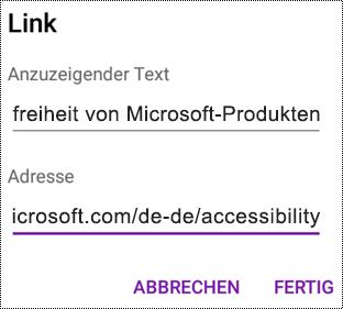 """Dialogfeld """"Link hinzufügen"""" in OneNote für Android"""