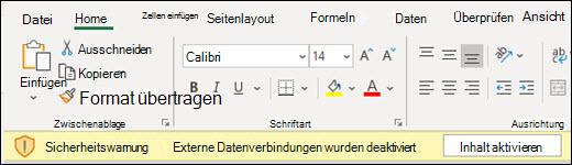 Externe Datenverbindungen wurden deaktiviert – aktivieren Sie Inhalt aktivieren.