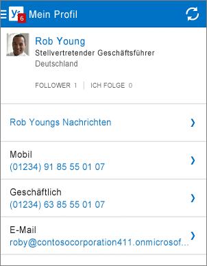 Profilseite in Yammer-App