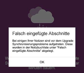 Benachrichtigung zu falsch eingefügten Abschnitten in OneNote für Android