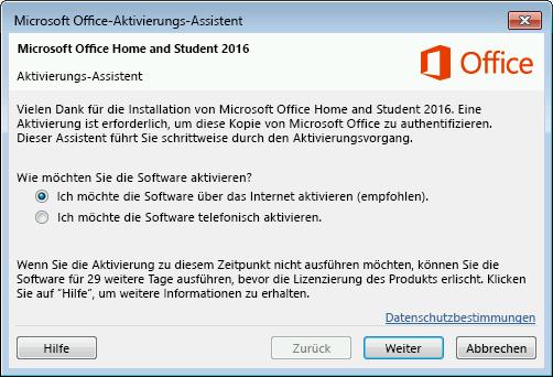 Zeigt den Microsoft Office-Aktivierungs-Assistenten an