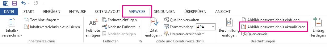 """Der Befehl """"Inhaltsverzeichnis aktualisieren"""" befindet sich auf der Registerkarte """"Verweise""""."""