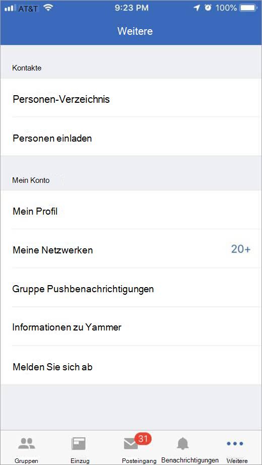 iOS Jammer Seite, auf der weitere Optionen aufgelistet sind