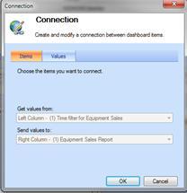 Dialogfeld 'Verbindung', Registerkarte 'Elemente' mit angezeigten Berichtsverbindungen