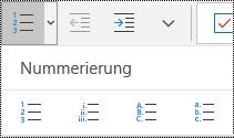 """Schaltflächen """"Nummerierte Liste"""" im Menü """"Start"""" des Menübands von OneNote für Windows 10."""