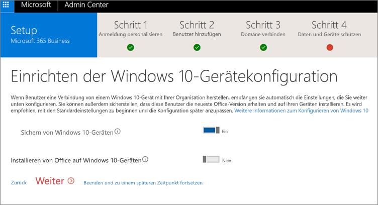 """Screenshot der Seite """"Vorbereiten von Windows 10-Geräten"""""""