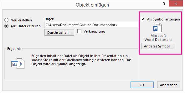 """Das Dialogfeld """"Objekt einfügen"""" mit aktiviertem Kontrollkästchen """"Als Symbol anzeigen"""""""