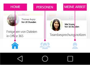Delve für Android – Hauptmenü