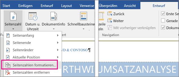 """Auf der Registerkarte """"Entwurf"""" ist unter """"Seitenzahl"""" die Option """"Seitenzahlen formatieren"""" hervorgehoben."""