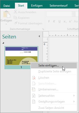 """""""Seite einfügen"""" im Navigationsbereich """"Seiten"""" in Publisher."""