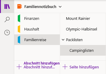 Navigationsoberfläche in OneNote für Windows 10
