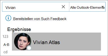 Verwenden der Suche in Outlook zum Suchen von Kontakten