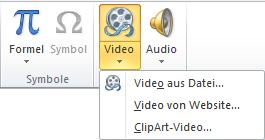 Die Schaltfläche auf der Menüleiste zum Einfügen eines Onlinevideos in PowerPoint 2010