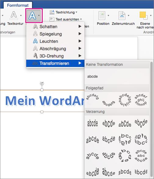 """Registerkarte """"Formformatierung"""" mit hervorgehobener Option """"Texteffekte"""""""