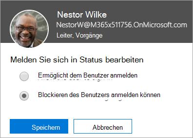 "Screenshot des Dialogfelds ""Anmeldestatus"" in Office 365"