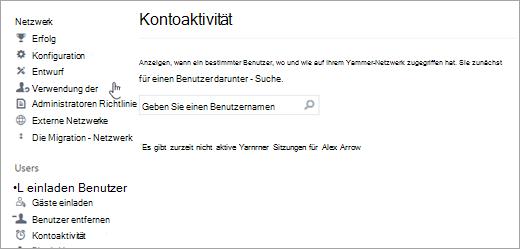 Screenshot der Kontoaktivität für einen Benutzer, die keine aktiven Yammer-Sitzungen anzeigt (abgemeldet)