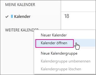 """Menü """"Kalender öffnen"""" von Outlook Web App"""