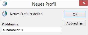 Einrichtung eines neuen E-Mail-Profils für Outlook