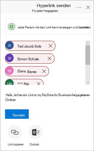 Dialogfeld für Office 365-Link senden
