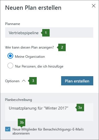 Erstellen eines neuen Plans