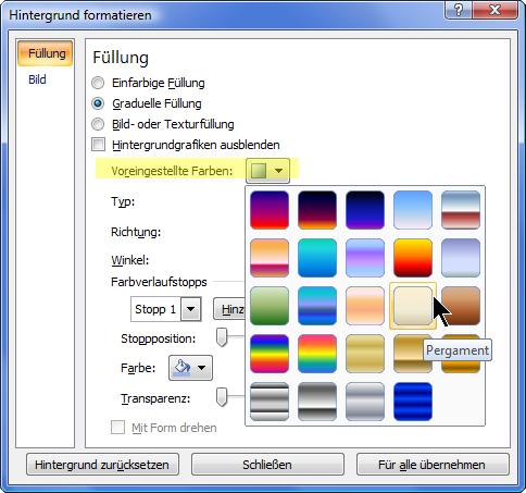 """Wenn Sie einen voreingestellten Farbverlauf verwenden möchten, wählen Sie """"Voreingestellte Farben"""" und dann die gewünschte Option aus."""