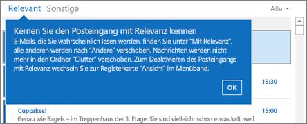 Foucsed Inbox verfügt über zwei Registerkarten, wo Ihre e-Mail-Nachrichten sortiert wird: mit Fokus und andere