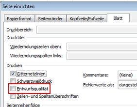 Registerkarte 'Blatt' im Dialogfeld 'Seite einrichten'