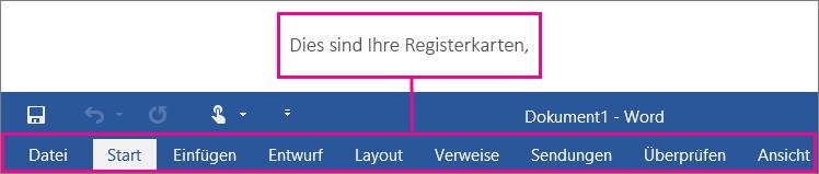 Bild der Registerkarten auf dem Menüband in Word.