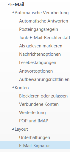Outlook im Web – E-Mail-Signatur