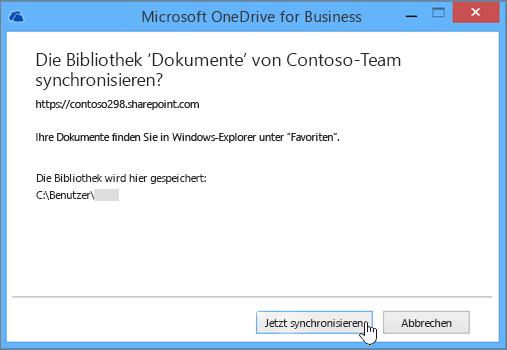 """Wählen Sie die Schaltfläche """"Jetzt synchronisieren"""" aus, um mit dem Synchronisieren von Dateien zwischen Ihrer Teamwebsite und Ihrem Desktop zu beginnen."""