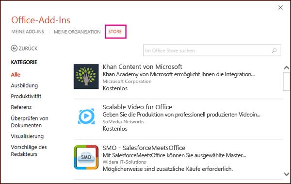 "Dialogfeld ""Office-Add-Ins"", Option ""Store"" hervorgehoben"