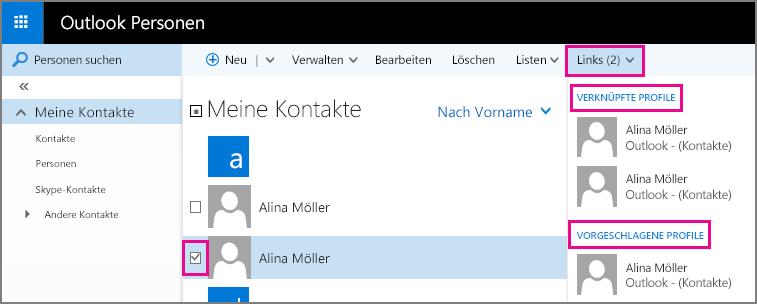 """Screenshot der Outlook-Seite """"Personen"""". Der Screenshot zeigt zwei Kontakte mit ähnlichen Namen. Außerdem zeigt er das Dropdownmenü """"Verknüpfungen"""" auf der Symbolleiste, das einen Abschnitt für """"Verknüpfte Profile"""" und einen Abschnitt für """"Vorgeschlagene Profile"""" enthält."""