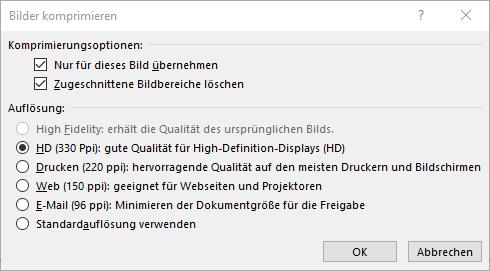 "Dialogfeld ""Bilder komprimieren"""