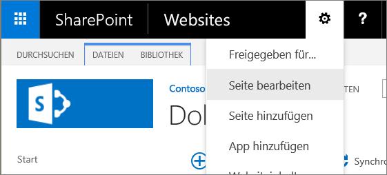 """SharePoint 2016 – Dropdownmenü """"Einstellungen"""""""