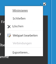 """Webpartmenü zum Auswählen von """"Webpart bearbeiten"""""""