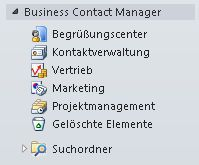 Erweiterte Business Contact Manager-Ordner im Navigationsbereich