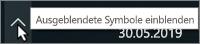 Windows-Taskleiste mit Pfeil, der ausgeblendete Symbole anzeigt