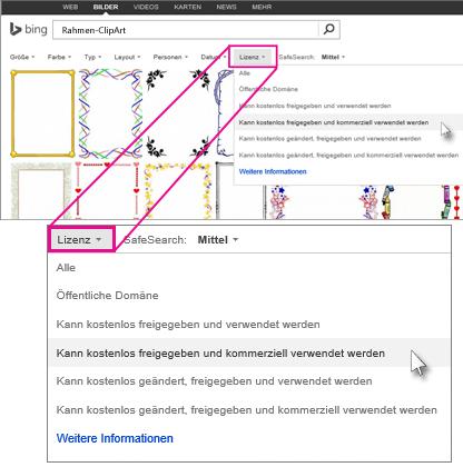 Suchen nach Rahmen-ClipArts mithilfe des Lizenzfilters